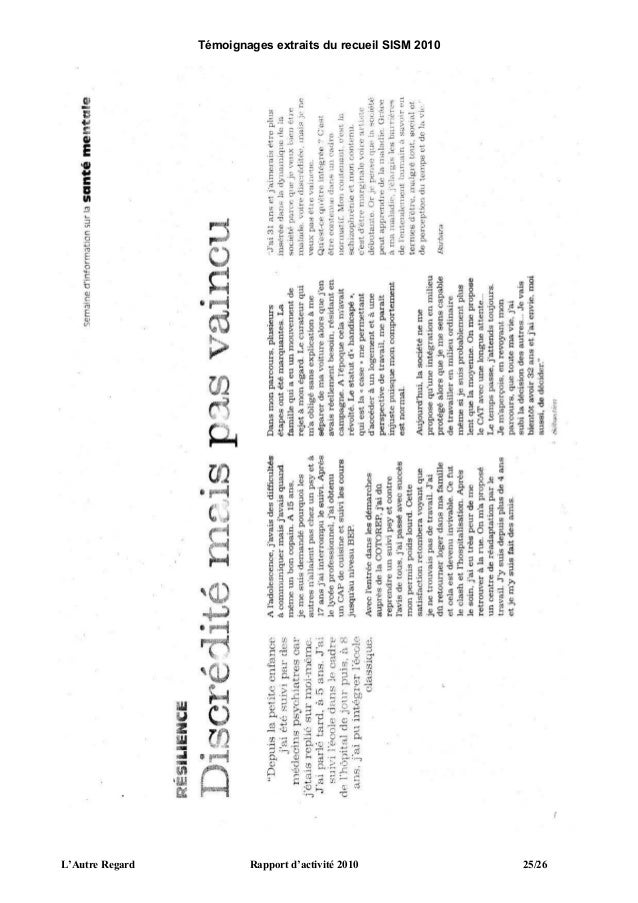 L'Autre Regard   Rapport d'activité 2010   26/26