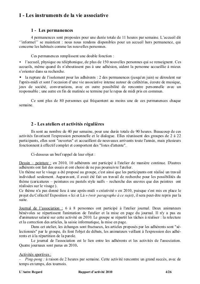 I - Les instruments de la vie associative       1 - Les permanences       4 permanences sont proposées pour une durée tota...