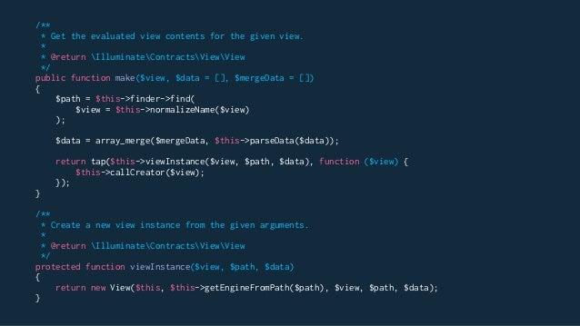 Builder Pattern Example class PizzaBuilder { public function make(PizzaBuilderInterface $pizza): Pizza { // Returns object...