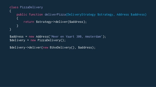 // Using instantiation $pizzaManager = new AppDominosPizzaManager(); // Using the provider pattern and the container $pizz...