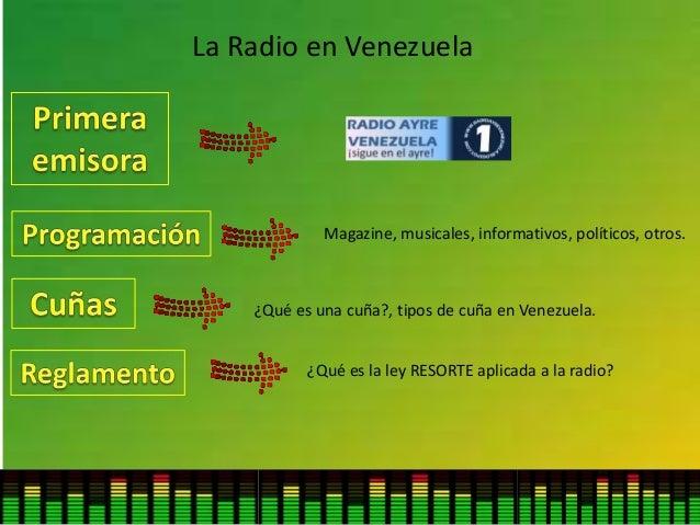 La Radio en Venezuela Magazine, musicales, informativos, políticos, otros. ¿Qué es una cuña?, tipos de cuña en Venezuela. ...