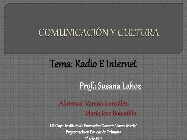 """Prof.: Susana Lahoz UCCuyo.Institutode FormaciónDocente""""SantaMaría"""" ProfesoradoenEducaciónPrimaria 3° año2015 Alumnas: Van..."""
