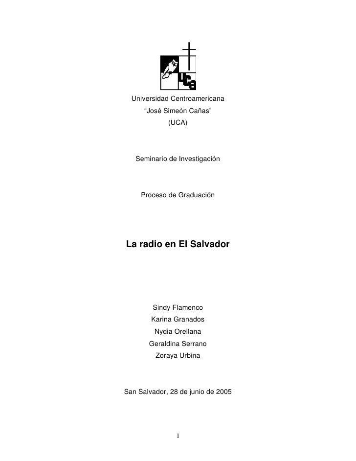 """Universidad Centroamericana       """"José Simeón Cañas""""              (UCA)        Seminario de Investigación          Proces..."""