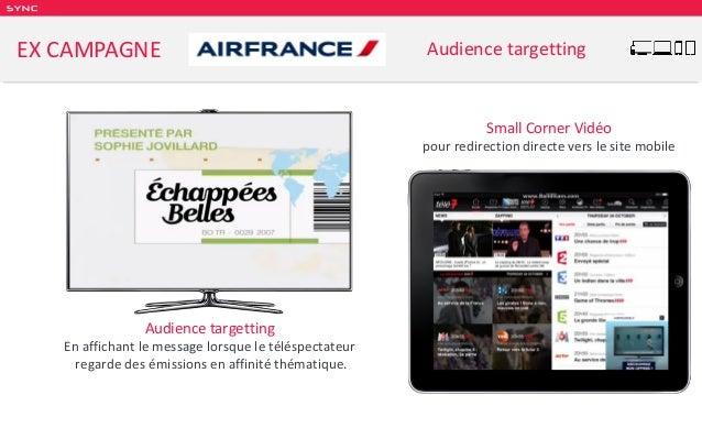 SY NC EX CAMPAGNE Audience targetting Audience targetting En affichant le message lorsque le téléspectateur regarde des ém...