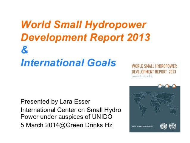 World Small Hydropower Development Report 2013 & International Goals Presented by Lara Esser International Center on Small...