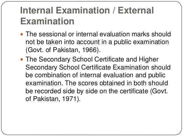 internal and external examination system in pakistan