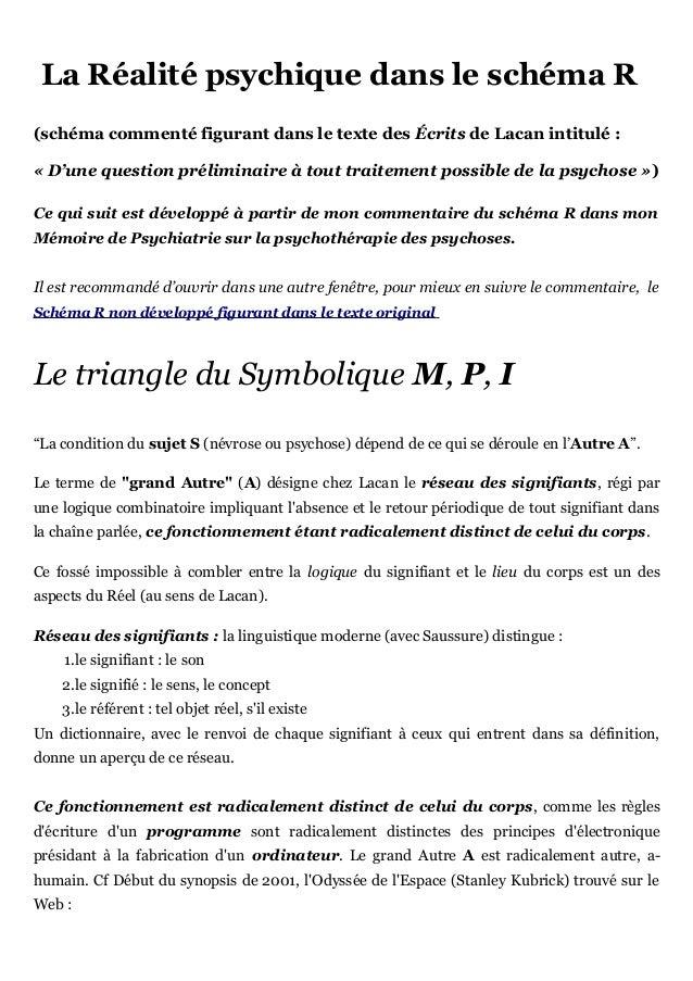 La Réalité psychique dans le schéma R(schéma commenté figurant dans le texte des Écrits de Lacan intitulé :« D'une questio...