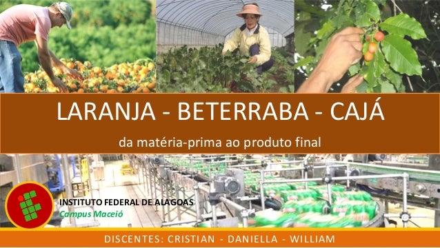 LARANJA - BETERRABA - CAJÁ da matéria-prima ao produto final DISCENTES: CRISTIAN - DANIELLA - WILLIAM INSTITUTO FEDERAL DE...