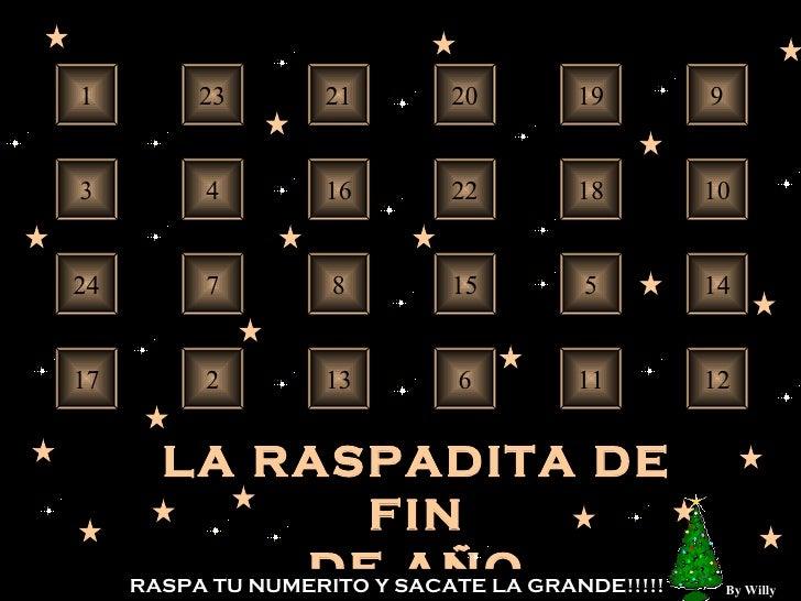 24 23 22 21 20 19 18 17 16 15 14 13 12 11 10 9 8 7 6 5 4 3 2 1 LA RASPADITA DE FIN DE AÑO RASPA TU NUMERITO Y SACATE LA GR...