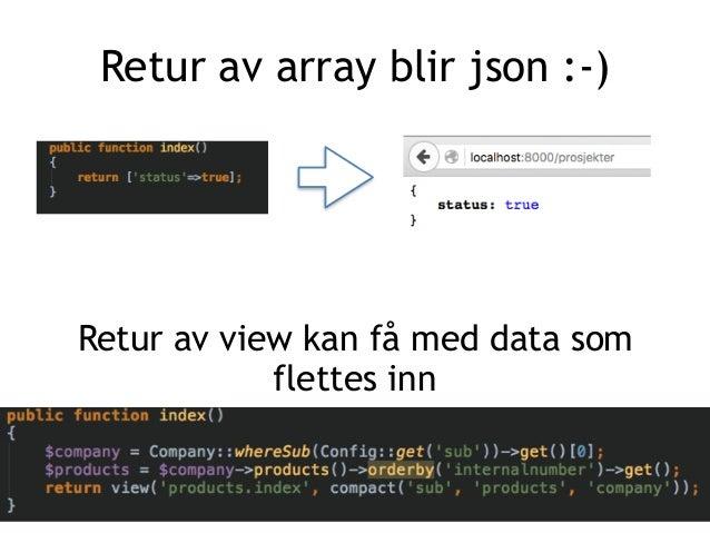 Retur av array blir json :-) Retur av view kan få med data som flettes inn