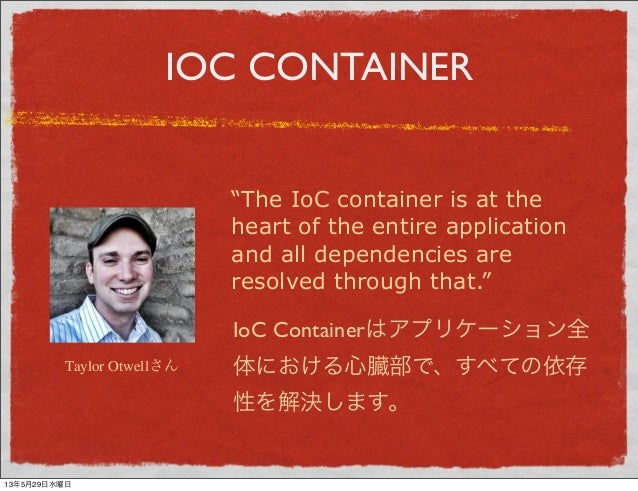 """IOC CONTAINER""""The IoC container is at theheart of the entire applicationand all dependencies areresolved through that.""""Tay..."""