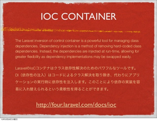IOC CONTAINERThe Laravel inversion of control container is a powerful tool for managing classdependencies. Dependency inje...