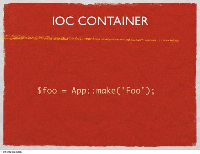 IOC CONTAINER$foo = App::make(Foo);13年5月29日水曜日