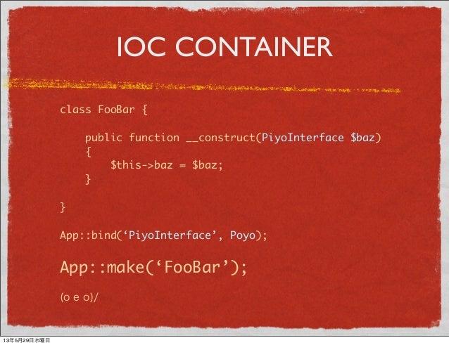 IOC CONTAINERclass FooBar {public function __construct(PiyoInterface $baz){$this->baz = $baz;}}App::bind('PiyoInterface', ...