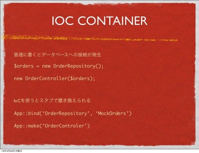 IOC CONTAINER$orders = new OrderRepository();new OrderController($orders);App::bind('OrderRepository', 'MockOrders')App::m...