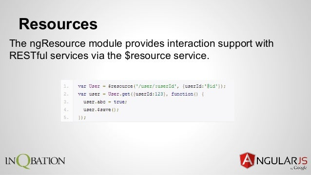 Resources The ngResource module provides interaction support with RESTful services via the $resource service.