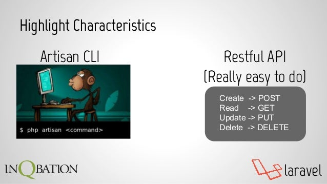 laravel Highlight Characteristics Restful API (Really easy to do) Create -> POST Read -> GET Update -> PUT Delete -> DELET...