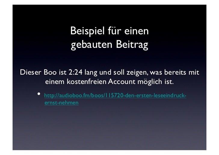 Beispiel für einen                  gebauten BeitragDieser Boo ist 2:24 lang und soll zeigen, was bereits mit       einem ...