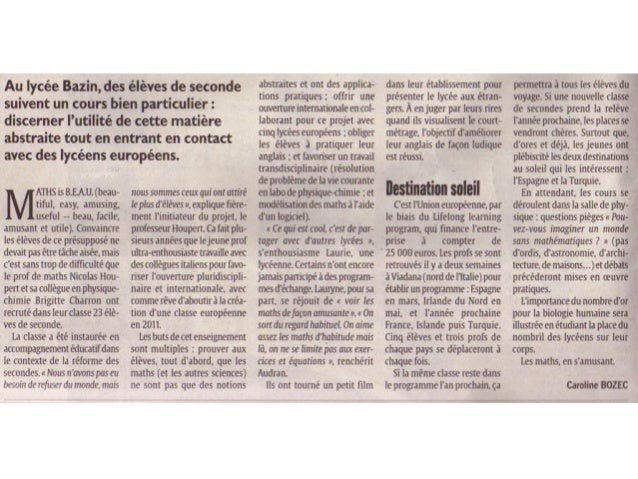"""""""Maths is B.E.A.U."""" en la prensa francesa"""