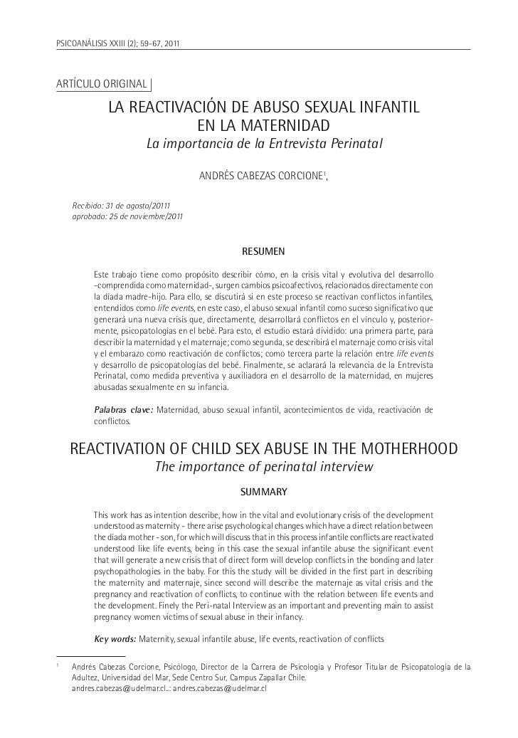 PSICOANÁLISIS XXIII (2); 59-67, 2011Artículo original                  LA REACTIVACIÓN DE ABUSO SEXUAL INFANTIL           ...