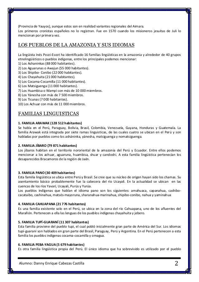 Alumno: Danny Enrique Cabezas Castilla 2 (Provincia de Yauyos), aunque estos son en realidad variantes regionales del Aima...