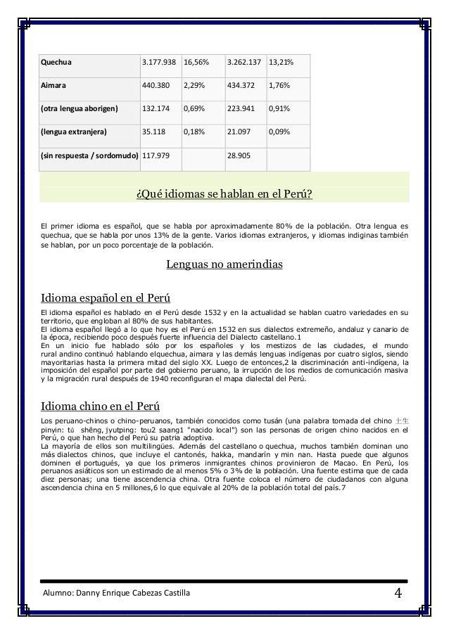 Alumno: Danny Enrique Cabezas Castilla 4 Quechua 3.177.938 16,56% 3.262.137 13,21% Aimara 440.380 2,29% 434.372 1,76% (otr...