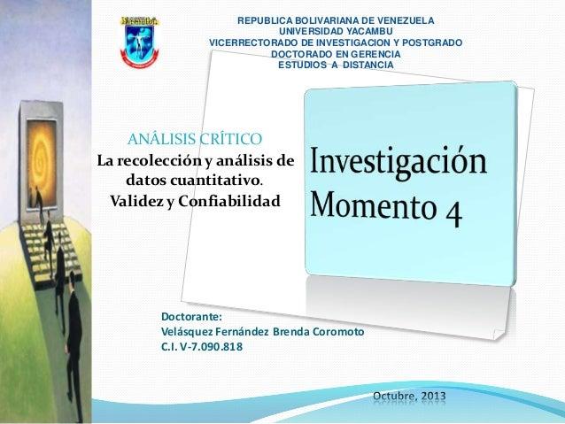 REPUBLICA BOLIVARIANA DE VENEZUELA UNIVERSIDAD YACAMBU VICERRECTORADO DE INVESTIGACION Y POSTGRADO DOCTORADO EN GERENCIA E...