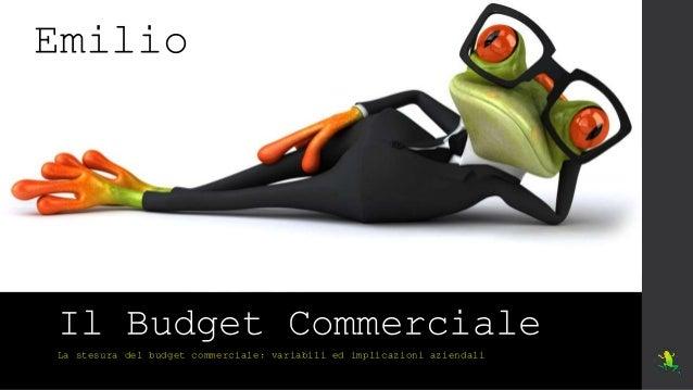 Il Budget Commerciale La stesura del budget commerciale: variabili ed implicazioni aziendali Emilio