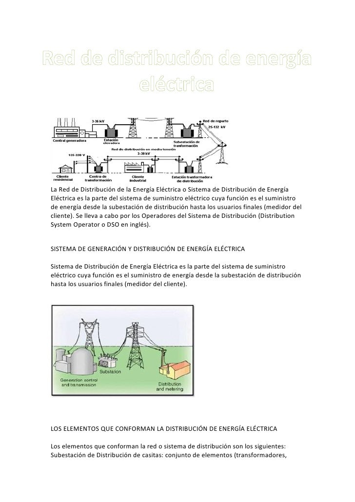 La Red de Distribución de la Energía Eléctrica o Sistema de Distribución de EnergíaEléctrica es la parte del sistema de su...