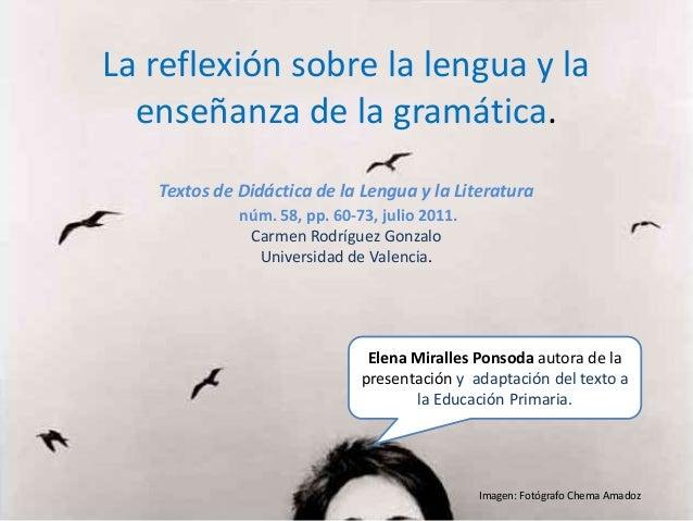La reflexión sobre la lengua y la  enseñanza de la gramática.   Textos de Didáctica de la Lengua y la Literatura          ...