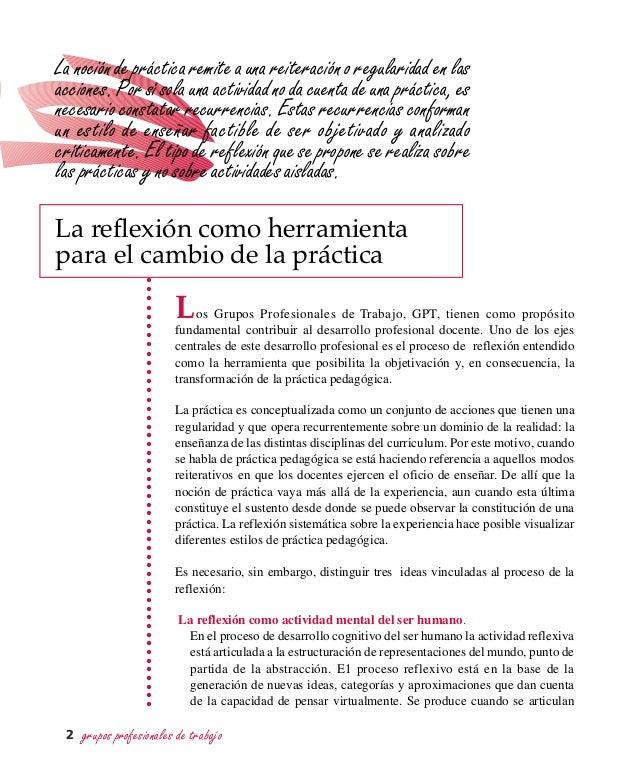 grupos profesionales de trabajo2 La reflexión como herramienta para el cambio de la práctica Los Grupos Profesionales de T...