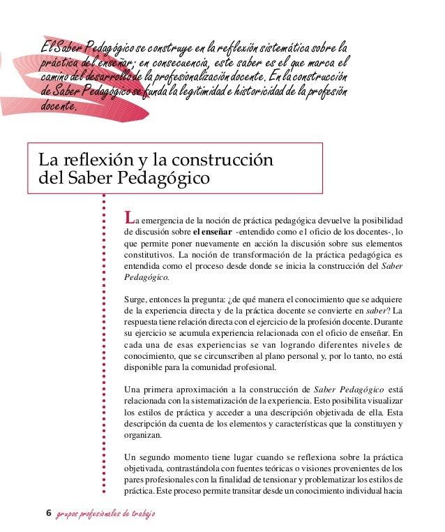 grupos profesionales de trabajo6 La emergencia de la noción de práctica pedagógica devuelve la posibilidad de discusión so...