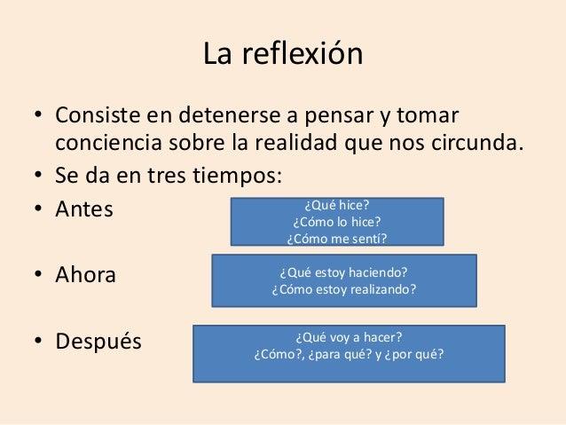 La reflexión • Consiste en detenerse a pensar y tomar conciencia sobre la realidad que nos circunda. • Se da en tres tiemp...