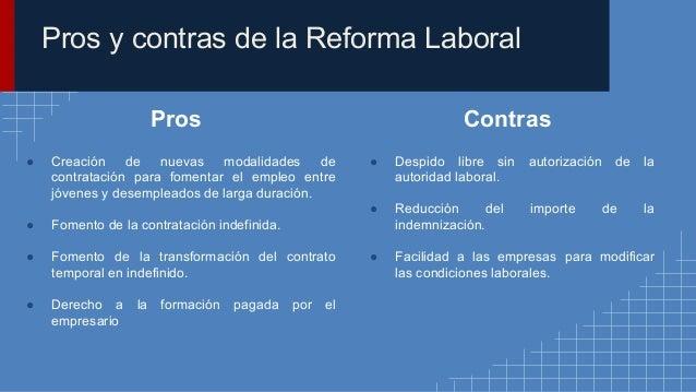 La reforma laboral for Hormigon impreso pros y contras