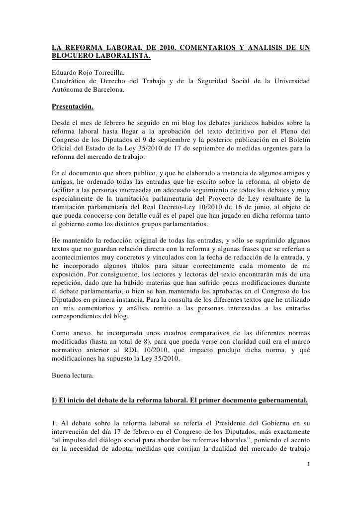 La reforma laboral de 2010. Comentarios y análisis de un bloguero laboralista.