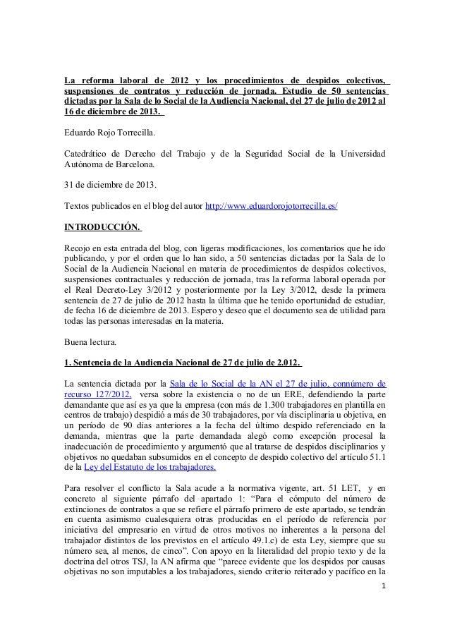 La reforma laboral de 2012 y los procedimientos de despidos colectivos, suspensiones de contratos y reducción de jornada. ...