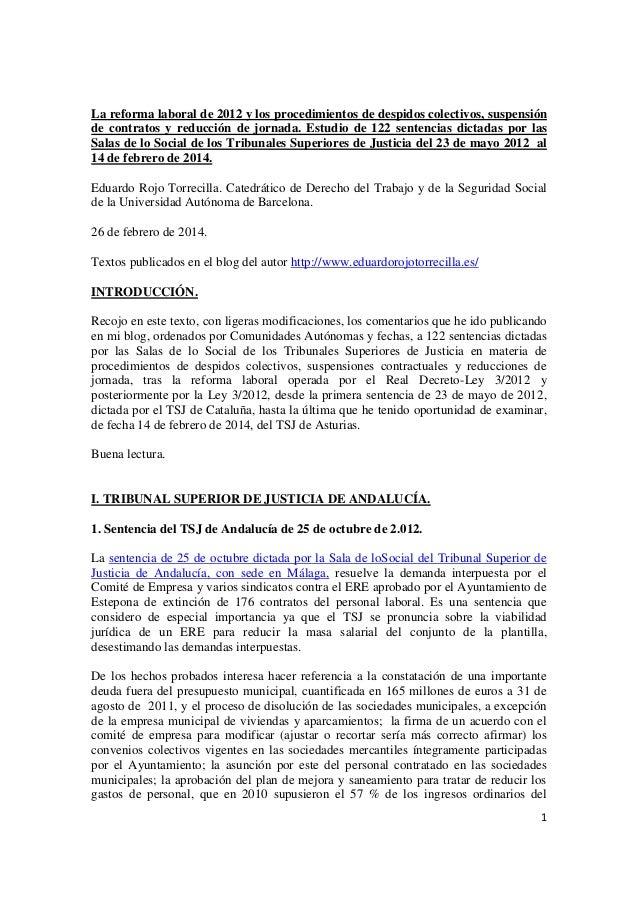 La reforma laboral de 2012 y los procedimientos de despidos colectivos, suspensión de contratos y reducción de jornada. Es...