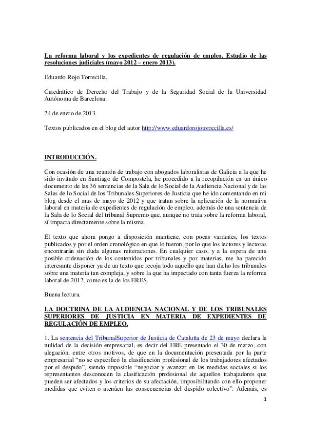 La reforma laboral y los expedientes de regulación de empleo. Estudio de lasresoluciones judiciales (mayo 2012 – enero 201...