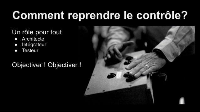 Comment reprendre le contrôle?  Un rôle pour tout  ● Architecte  ● Intégrateur  ● Testeur  Objectiver ! Objectiver !  ● No...