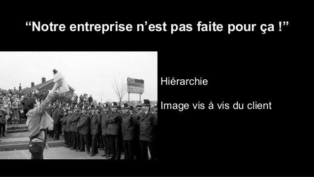 """""""Notre entreprise n'est pas faite pour ça !""""  Hiérarchie  Image vis à vis du client  Communication des résultats"""