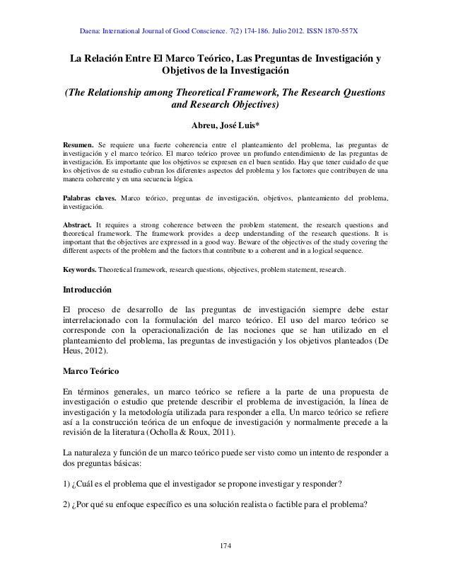 La relación entre el marco teórico, las preguntas de investigación y …