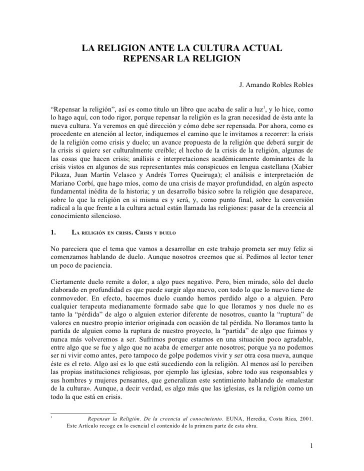 LA RELIGION ANTE LA CULTURA ACTUAL                   REPENSAR LA RELIGION                                                 ...