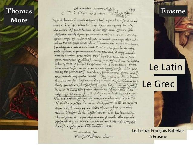 ErasmeThomas More Le Latin Le Grec Lettre de François Rabelais à Erasme