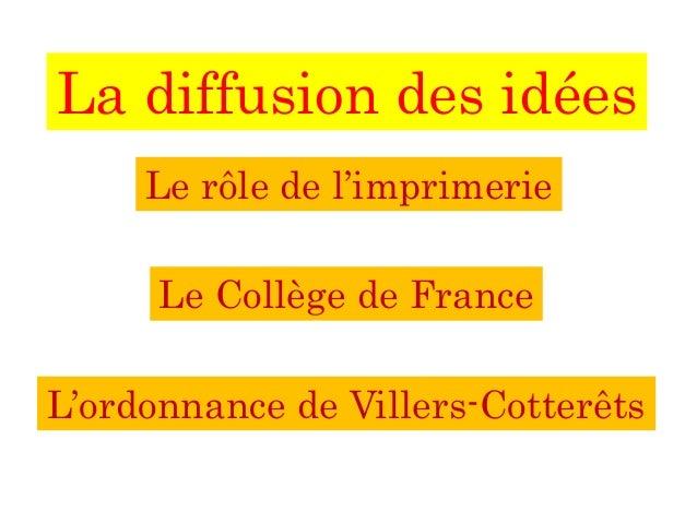 La diffusion des idées Le rôle de l'imprimerie Le Collège de France L'ordonnance de Villers-Cotterêts