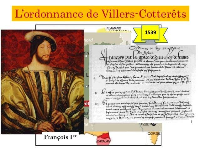L'ordonnance de Villers-Cotterêts François Ier 1539