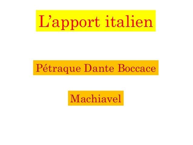 L'apport italien Pétraque Dante Boccace Machiavel