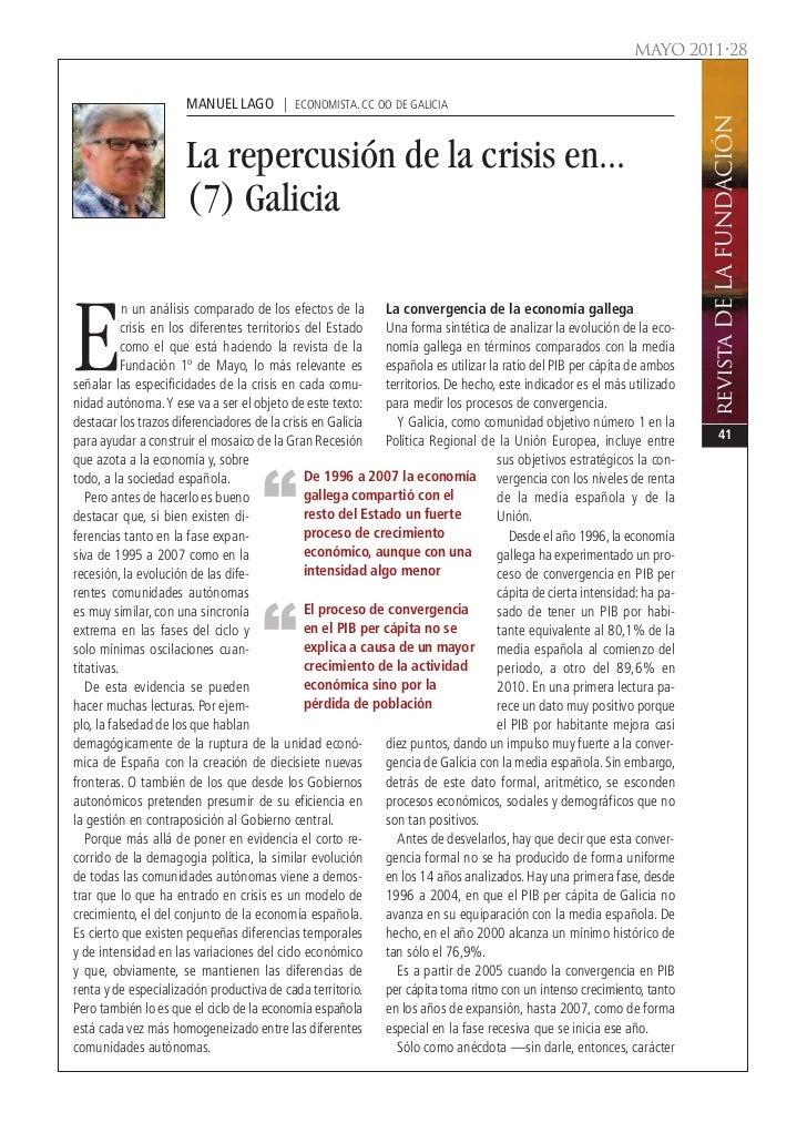 MAYO 2011•28                      MANUEL LAGO | ECONOMISTA. CC OO DE GALICIA                                              ...