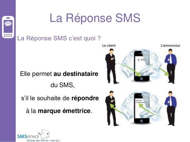 La Réponse SMS La Réponse SMS c'est quoi ?  Elle permet au destinataire  du SMS, s'il le souhaite de répondre à la marque ...