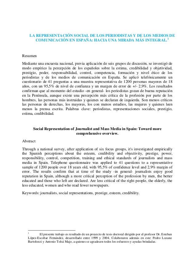 LA REPRESENTACIÓN SOCIAL DE LOS PERIODISTAS Y DE LOS MEDIOS DE          COMUNICACIÓN EN ESPAÑA: HACIA UNA MIRADA MÁS INTEG...