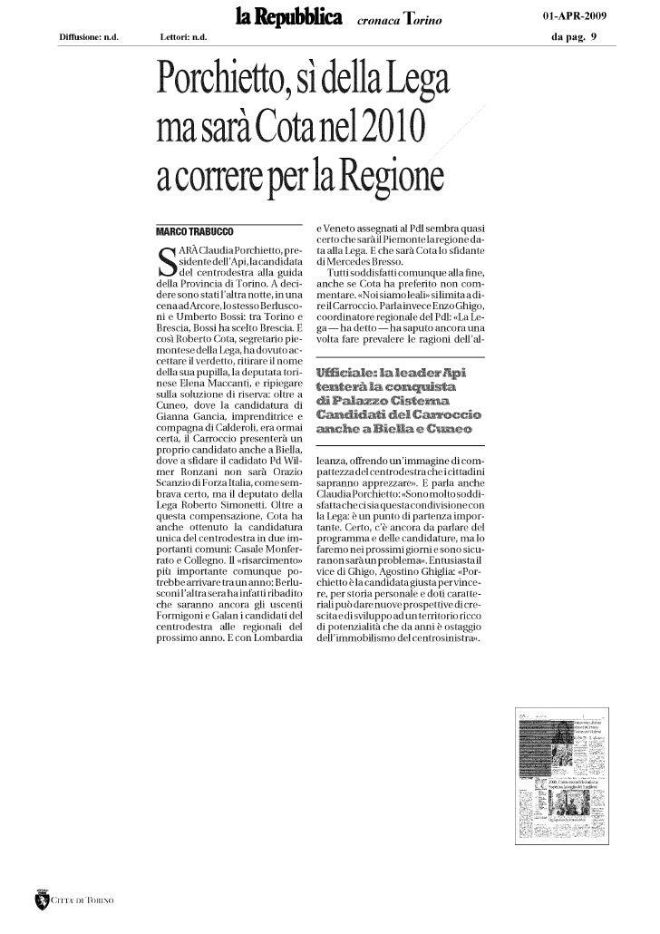 C. Porchietto_La Repubblica Torino_1.04.09